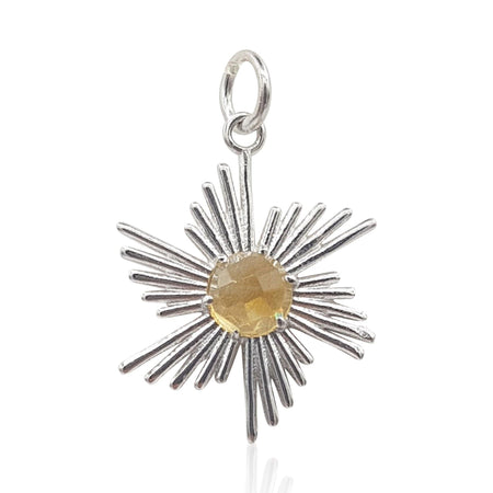 comet sun sunburst sunrays pendant and necklace with citrine in sterling silver, gold and rose gold vermeil by eliza bautista jewellery gifts for women