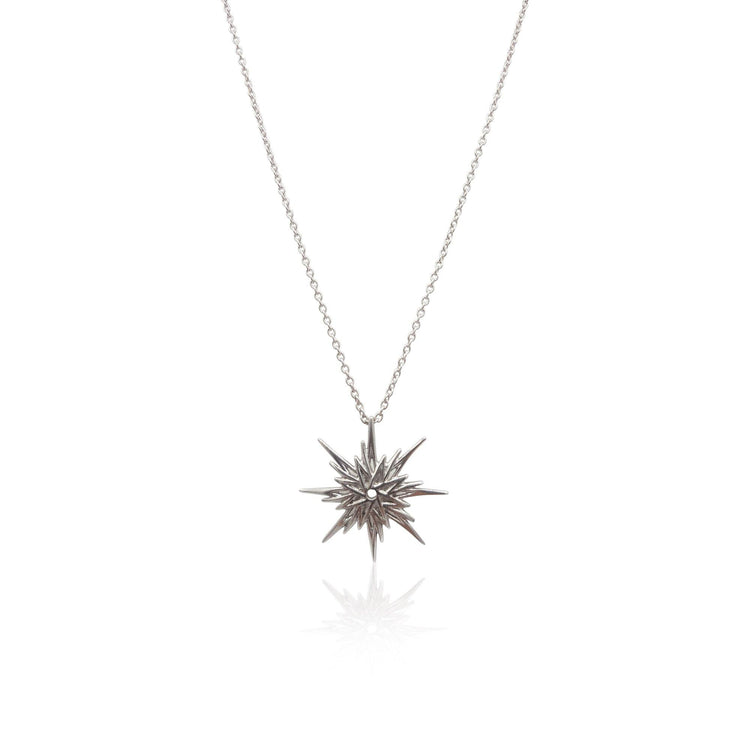 Astral Sunburst Necklace in Sterling Silver - Eliza Bautista