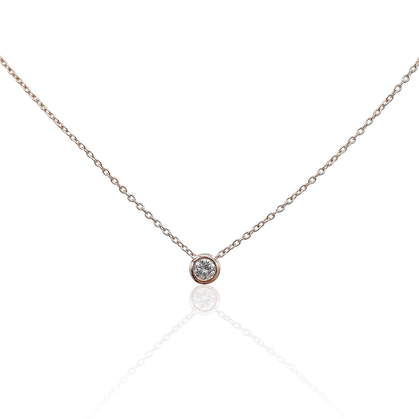 Lucia Diamond Solitaire Necklace in 18k Rose Gold Vermeil - Eliza Bautista