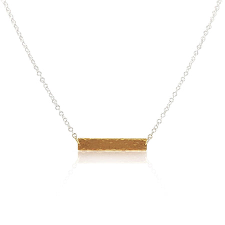 Hammered ID Tag Necklace - Gold Vermeil - Eliza Bautista
