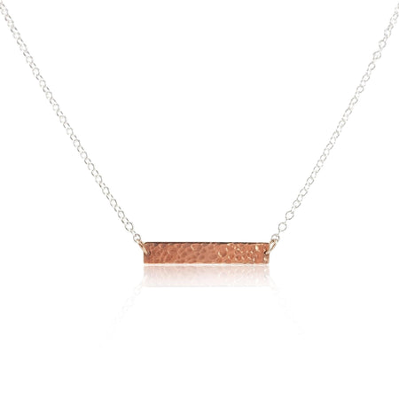 Hammered ID Tag Necklace - Rose Gold Vermeil - Eliza Bautista