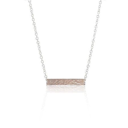 Hammered ID Tag Necklace - Sterling Silver - Eliza Bautista