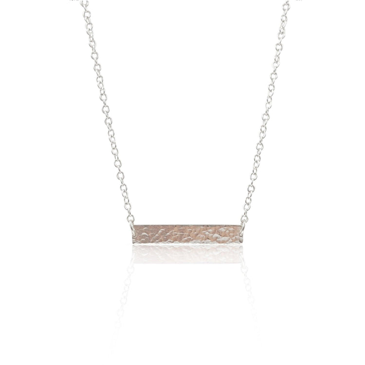Hammered ID Tag Necklace - Sterling Silver - Eliza Bautista Jewellery