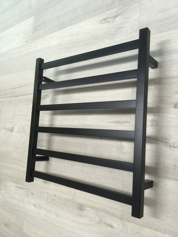 BLACK MATTE Heated Towel Rail rack Square AU standard square 6 bar 620 mm wide brass gold rose gold matte white