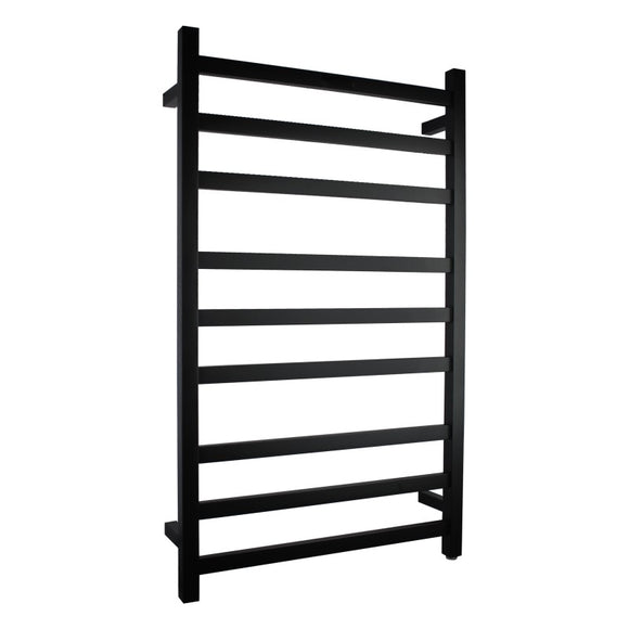 BLACK MATTE Heated Towel Rail rack Square AU standard square 9 bar 620 mm wide
