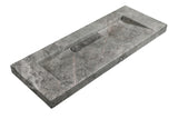 Hand Crafted Marble nature stone wash Basin Hermès matt grey wall hung 1500*450
