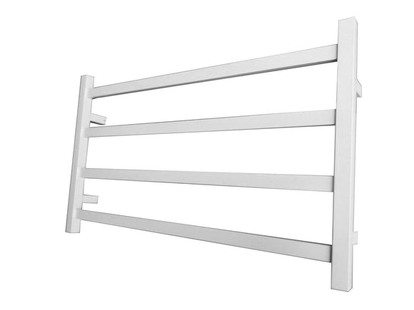 MATTE WHITE NON HEATED TOWEL RAIL RACK SQUARE AU STANDARD SQUARE 4 BAR 850 MM WIDE