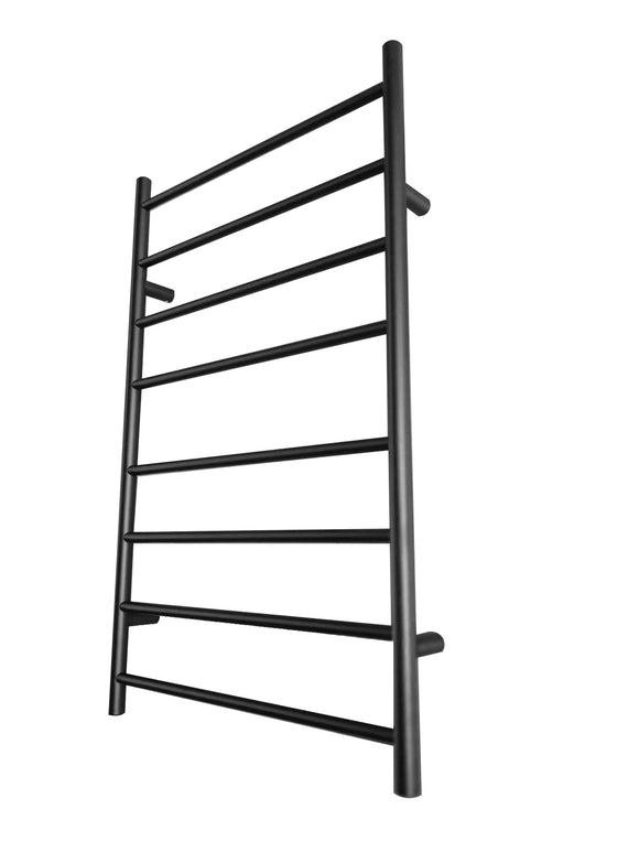 MATTE BLACK black Non Heated Towel Rail rack round AU standard 620 mm wide 8 bar