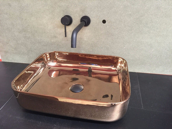 Porcelain Polished ROSE GOLDceramic rectangle  500*390 mm Bowl Counter Top Basin Vanity SINK