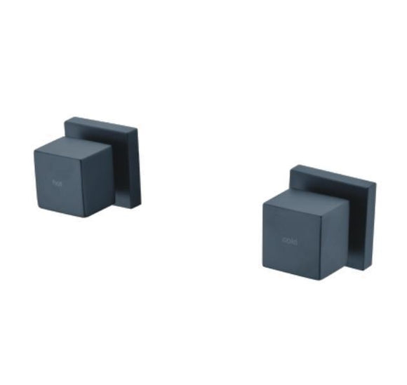 Matte Black 1/4 quarter turn wall tap hot cold square Not for retro fitting