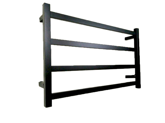 BLACK MATTE HEATED TOWEL RAIL RACK SQUARE AU STANDARD SQUARE 4 BAR 850 MM WIDE