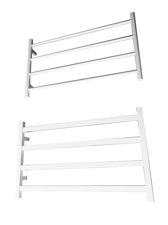 MATTE WHITE NON HEATED TOWEL RAIL RACK ROUND AU STANDARD SQUARE 4 BAR 850 MM WIDE