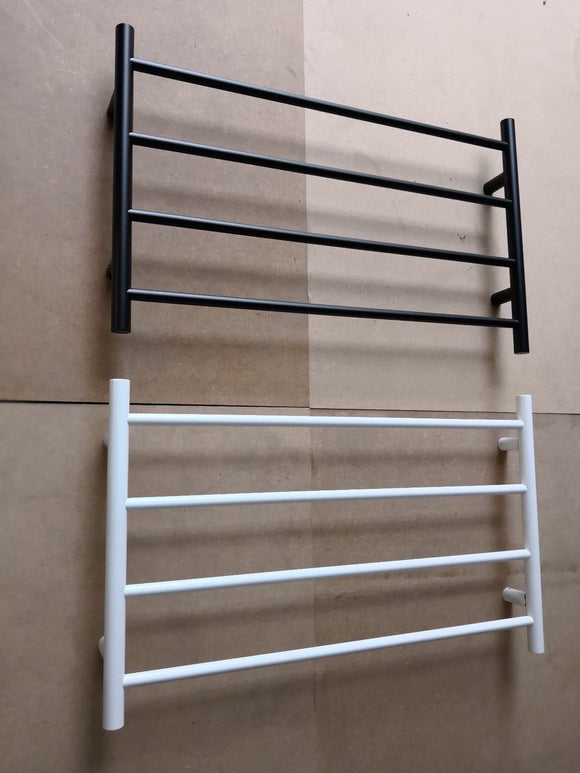 BLACK MATTE NON HEATED TOWEL RAIL RACK ROUND 4 BAR 850 MM WIDE