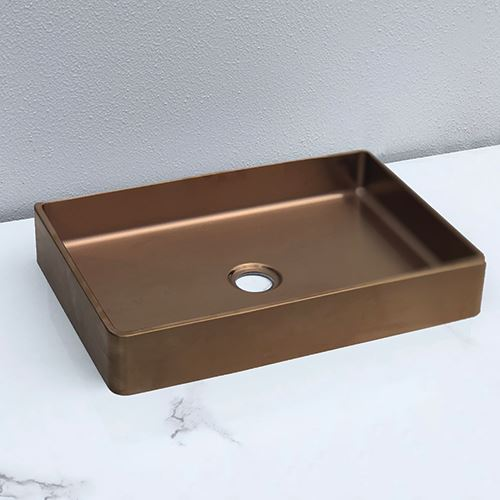 Burnished gunmetal black rose gold copper brass gold bench top mount basin sink