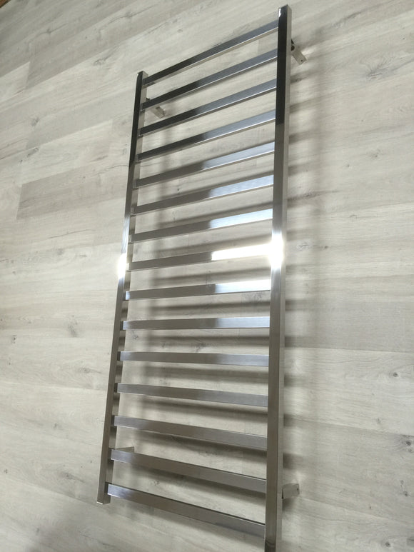 Polished mirror finish 304 stainless steel Heated Towel Rail rack Square square 15 bars 1500 mm High