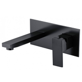 Matt Black square wall mixer with plate Bathroom Shower Bath Wall Mixer Faucet