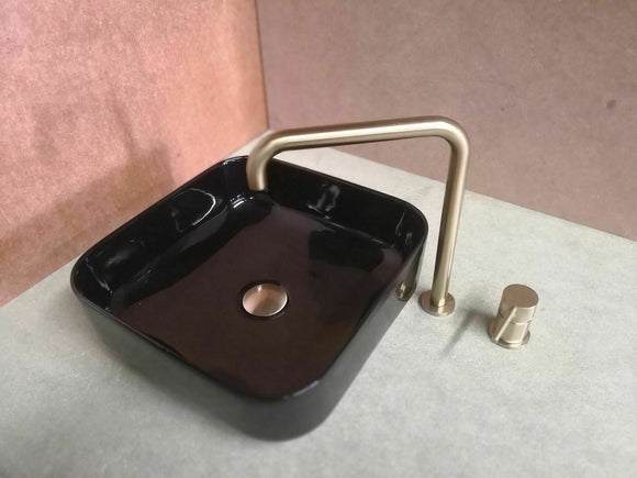 Gloss black square basin porcelain ceramic square 390*390*140 mm top counter