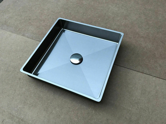 Brushed stainless steel under mount drop in insert wash basin sink hand made PVD