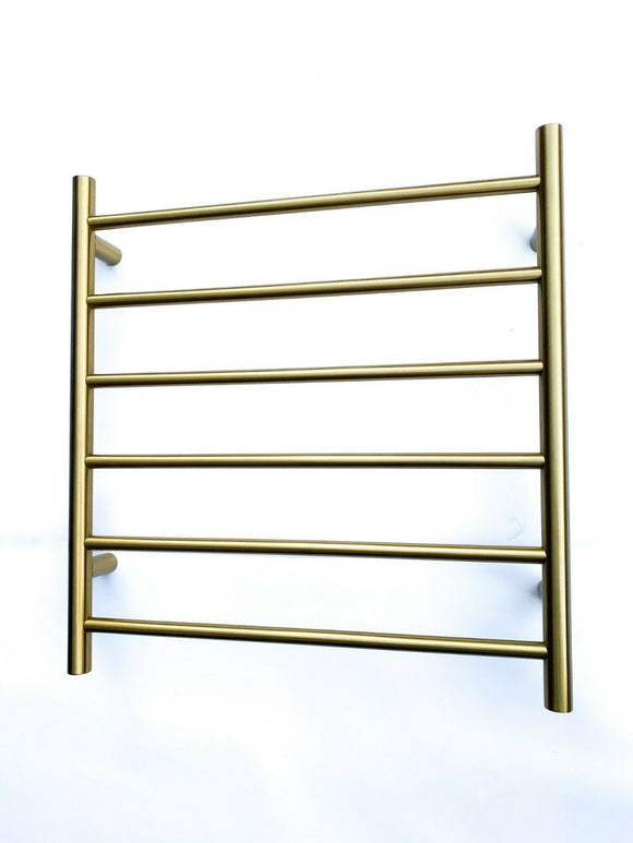 Burnished brass Brushed Gold Non Heated Towel Rail rack round  650 mm wide 6 bar