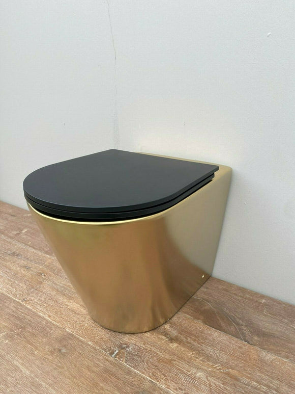 In Wall Concealed Cistern Toilet matte Gold matte Pan chrome rimless floor mount
