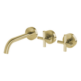 Cross Brushed Brushed gold hot cold Cross 1/4 turn wall tap faucet spout 150 mm
