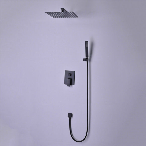 Watermark matte Black square shower brass  Mixer diverter wall arm hand head 200