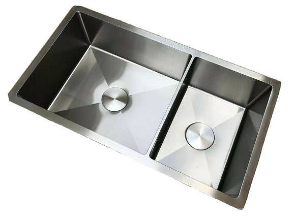 304 Square Stainless Steel Kitchen Sink Radius 5 mm double Bowl tap hole 83*45cm