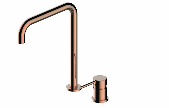 Gloss polished rose gold swivel spout kitchen mixer tap bench top mount two hole