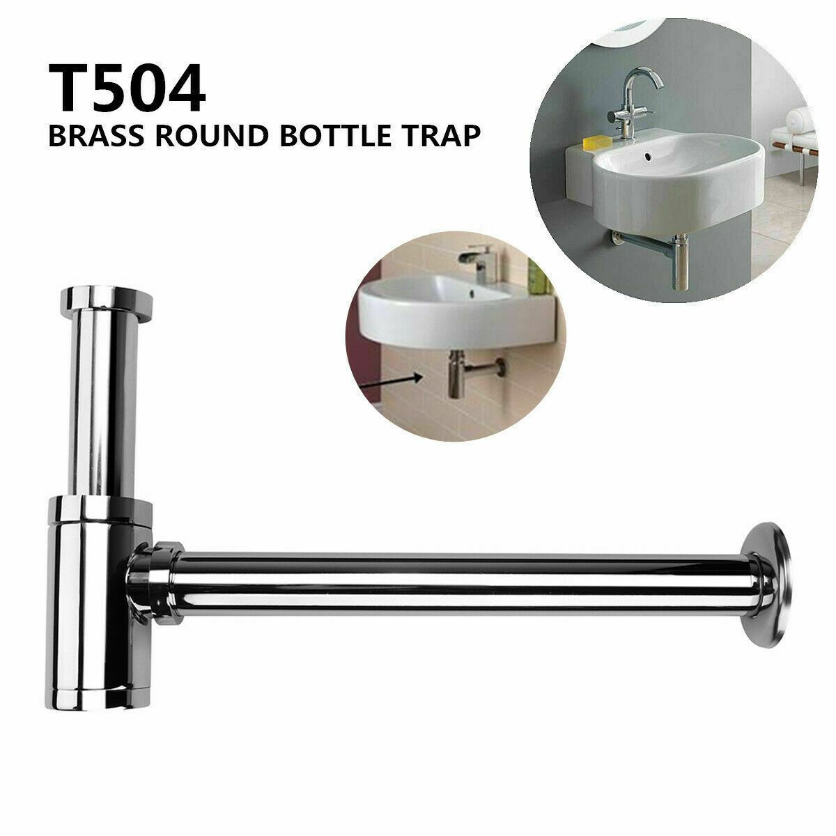 WALL HUNG white Basin vanity powder room with pop up plug bottle trap Bolts kit