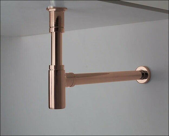 Polished Rose gold ROUND BOTTLE TRAP 32/40 mm WASTE for wall hung basin vanity