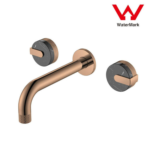 Bath basin Marble wall 1/4 turn hot cold tap faucet WELS rose gold texture spout