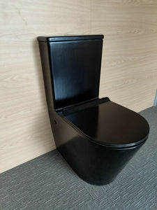 RIMLESS Toilet Suite BACK TO WALL FACED CLOSE COUPLED SOFT CLOSE Seat Black pan