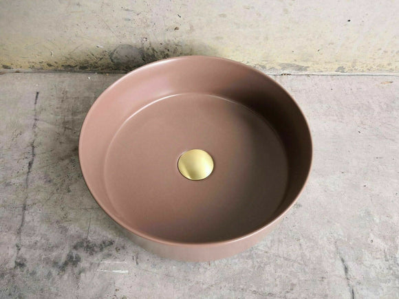 Matte Brown coffee Gold copper Round 360 mm on top counter basin porcelain sink