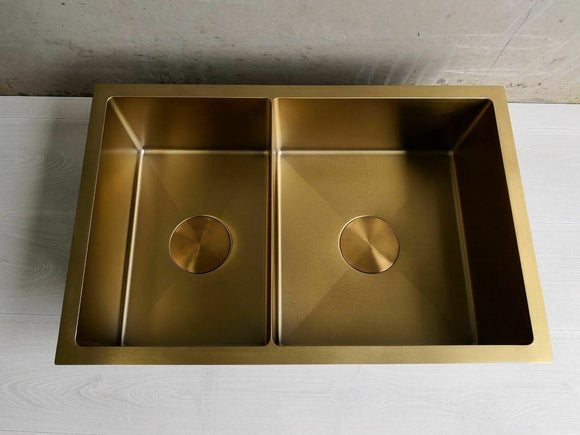 Burnished Brass Gold stainless steel double bowl kitchen sink hand made 1.5 mm