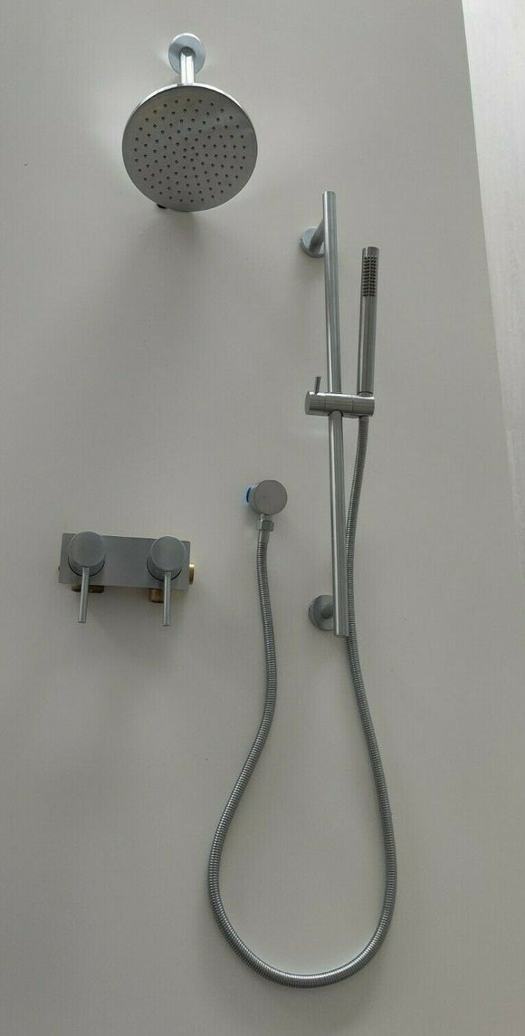 Brushed Chrome shower set hand held sliding wall mixer diverter overhead 200 mm