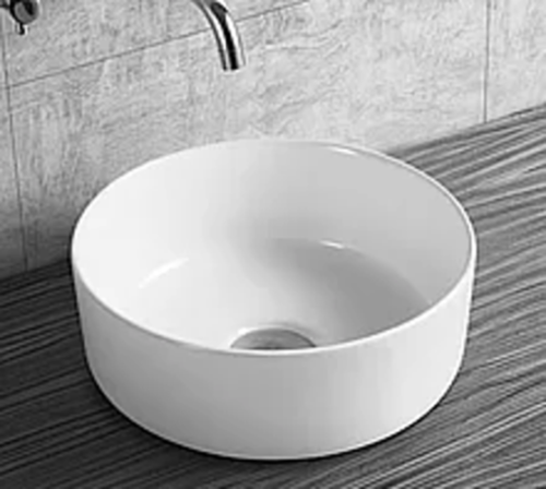 NEW Gloss white Round 360 mm Dia on top counter basin porcelain sink slim edge