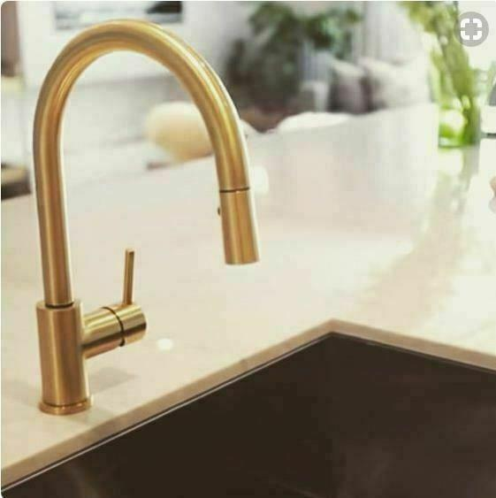 Brass Gold solid stainless steel kitchen mixer pull out spray function NO LEAD