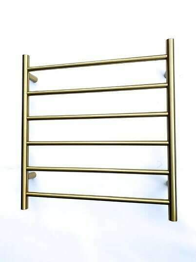 Burnished Brass Gold Copper Chrome NON Heated Towel Rail rack  Round square 6 bar