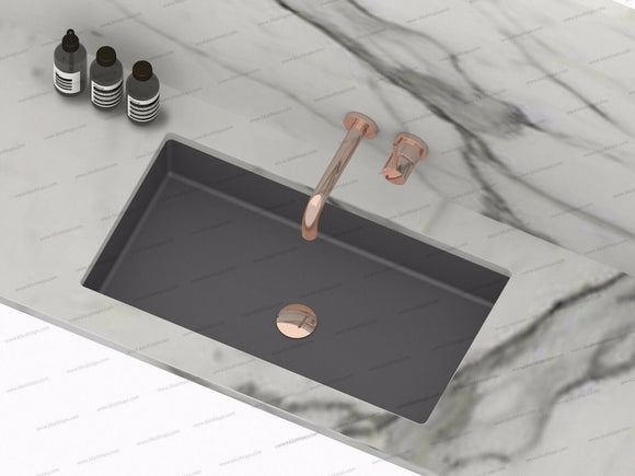 Burnished gun metal black undermount under mount basin sink hand made Rectangle