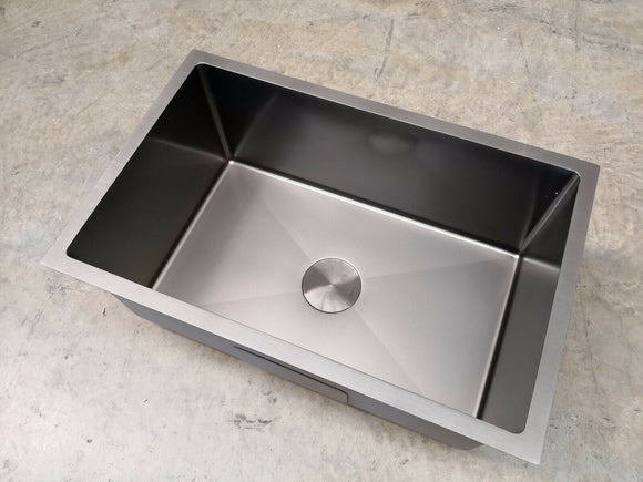 Burnished gunmetal Black stainless steel kitchen single sink trough 280 mm deep