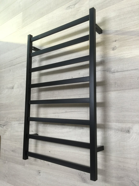 BLACK MATTE Heated Towel Rail rack Square AU standard square 8 bar 1000 mm wide