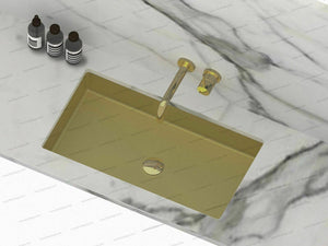 Burnished Brass gold undermount under mount basin sink hand made PVD Rectangle
