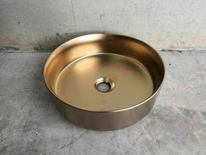 Matte Rose Gold copper Round 360 mm Dia on top counter basin porcelain sink