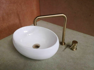 Porcelain white ceramic Round oval  Bowl Counter Top Basin Vanity SINK 410*310mm