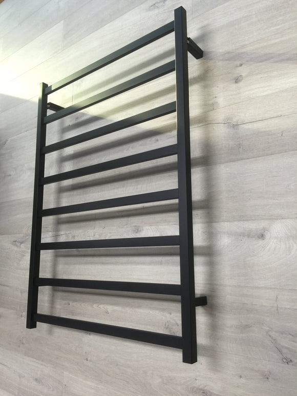 BLACK MATTE Heated Towel Rail rack Square AU standard square 8 bar 800 wide mm wide