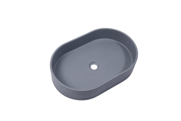 Ultra Modern concrete cement wash basin counter top Matt Dark Grey Oval basin 2021