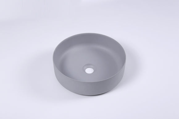 Ultra Modern concrete cement wash basin counter top Matt light Grey Round basin 2021