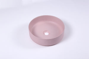 Ultra Modern concrete cement wash basin counter top Matt Pink Round basin 2021
