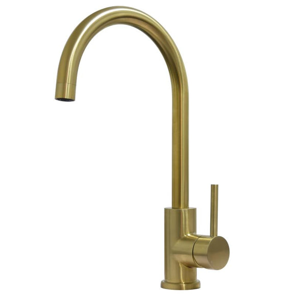 PVD Brushed brass gold finish stainless steel Made kitchen mixer swivel