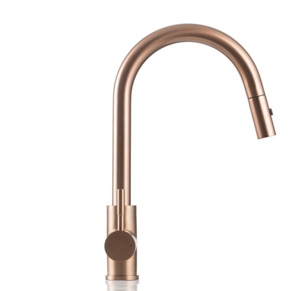 PVD Brushed rose gold Copper finish stainless steel Made kitchen mixer swivel